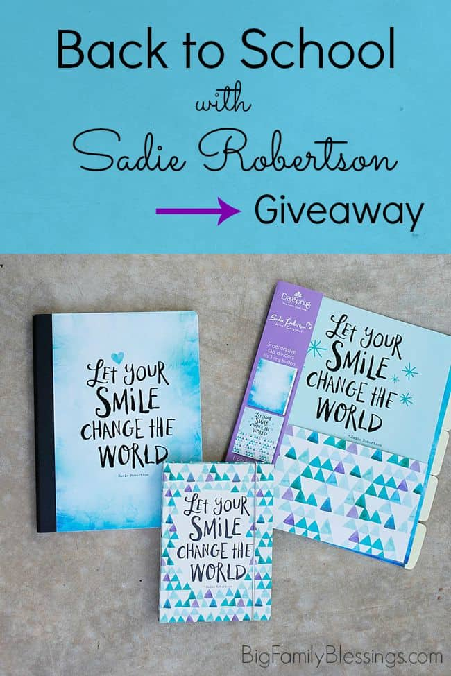 "Back to School with Sadie Robertson. Check out these awesome school supplies by Sadie of Duck Dynasty. Enter to win a $25 Certificate to Family Christian to buy your own adorable ""Live Original"" school supplies."