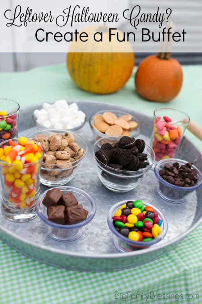 Create a leftover Halloween Candy & Pudding Buffet