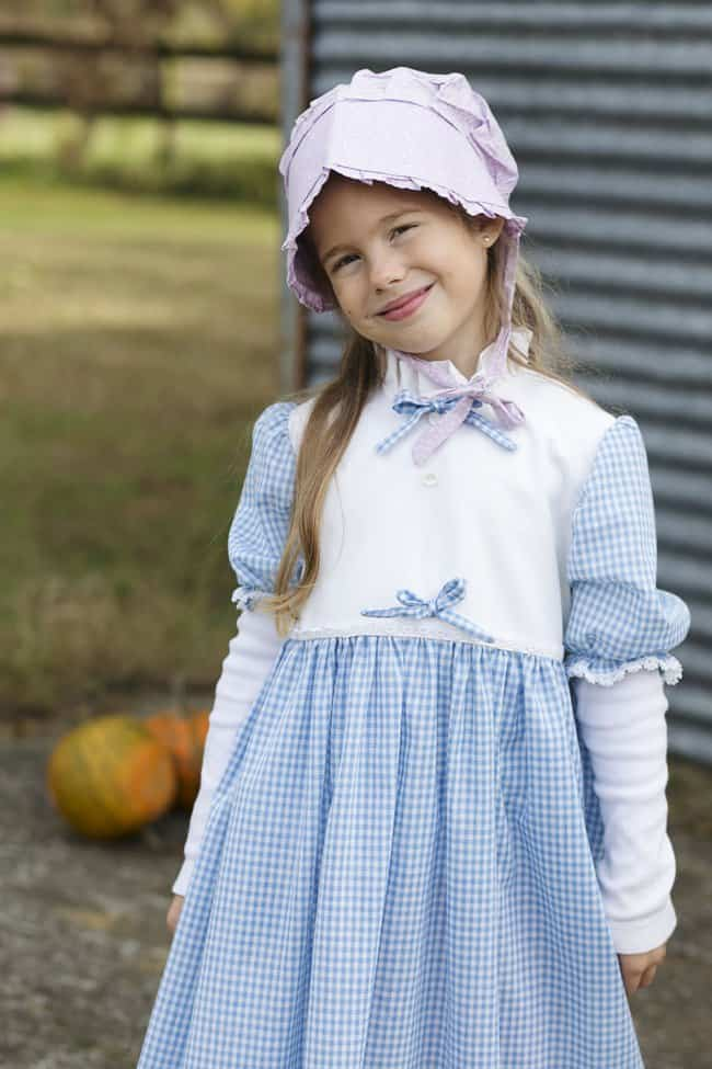 Pioneer dress made by her great grandma