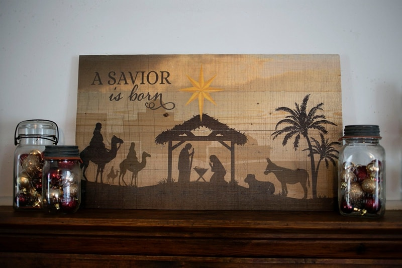 The Reason for the Season Christmas mantle decor