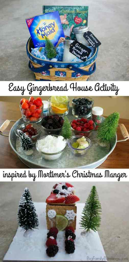 Easy DIY Gingerbread house tutorial inspired by Mortimer's Christmas Manger. Perfect activity for advent, 12 books of Christmas or a give as a gift basket.