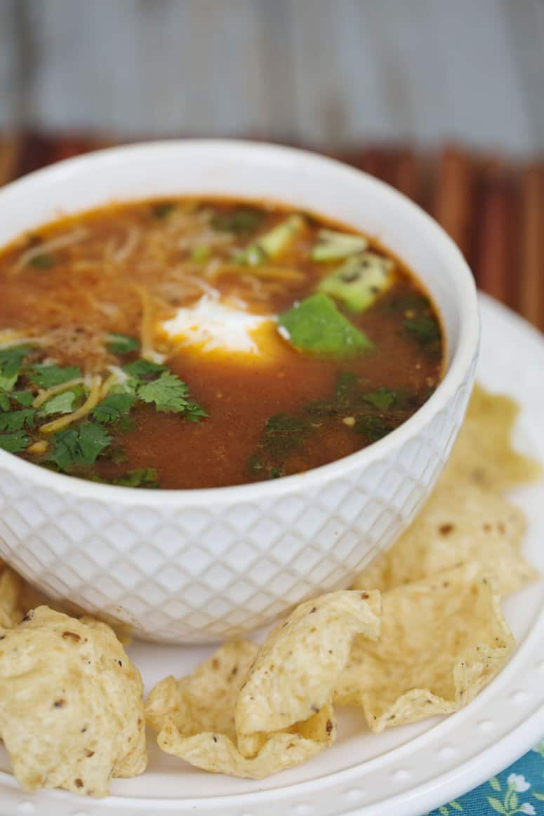 Easy Chicken Tortilla Soup with leftover chicken