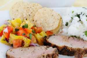 Grilled Pineapple Salsa with Garlic Pepper Pork