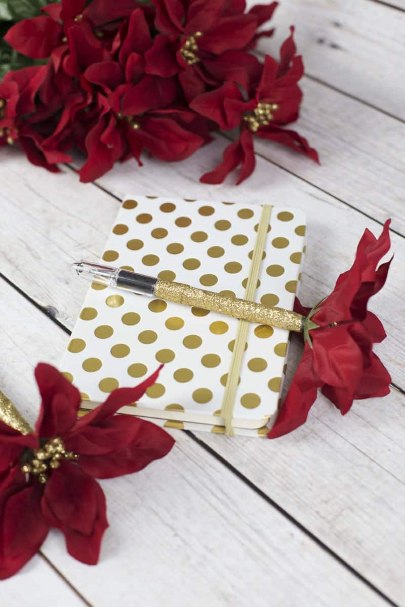 DIY Poinsettia Flower Pens Christmas gift for tweens, teens, and teachers
