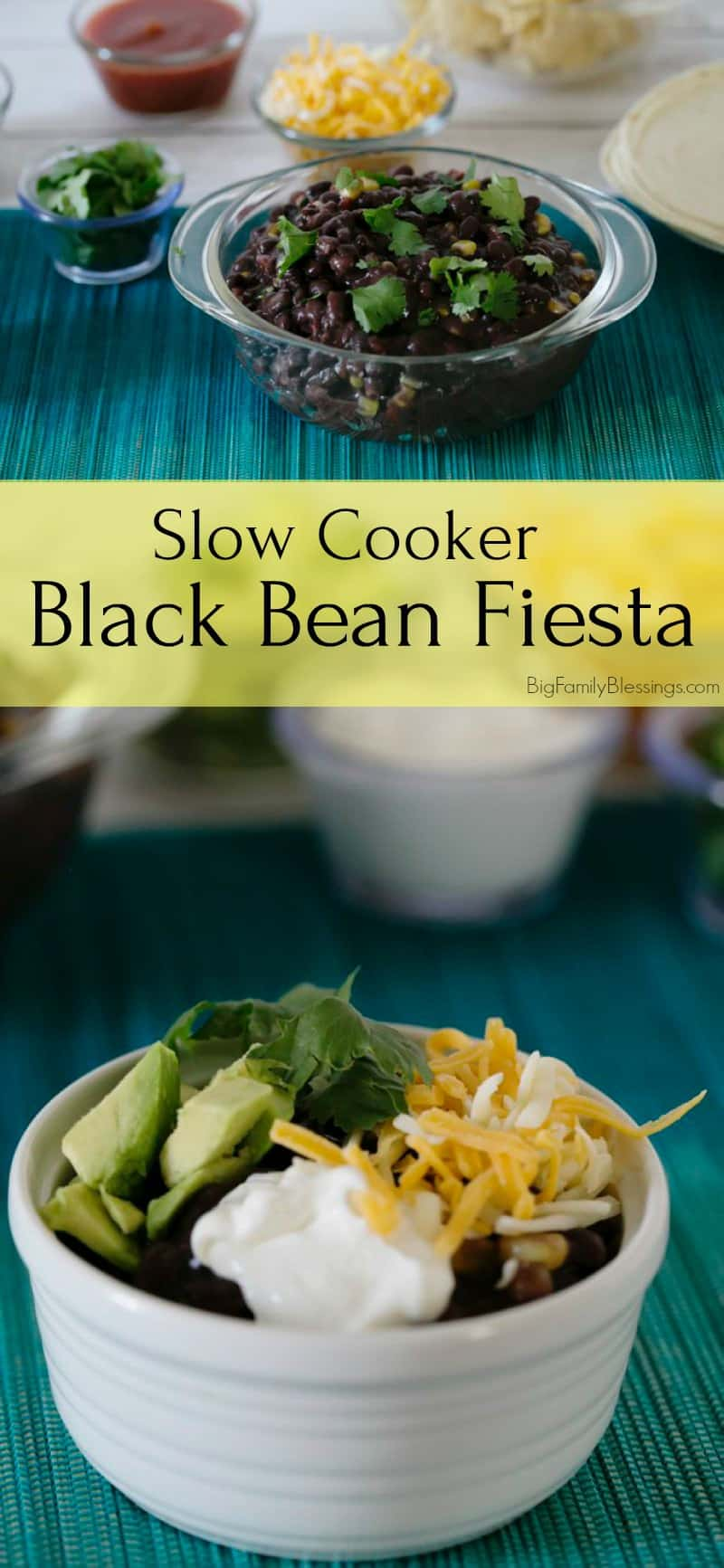 Slow Cooker Black Beans. Delicious and easy! Enjoy alone, or as part of a taco fixings station.