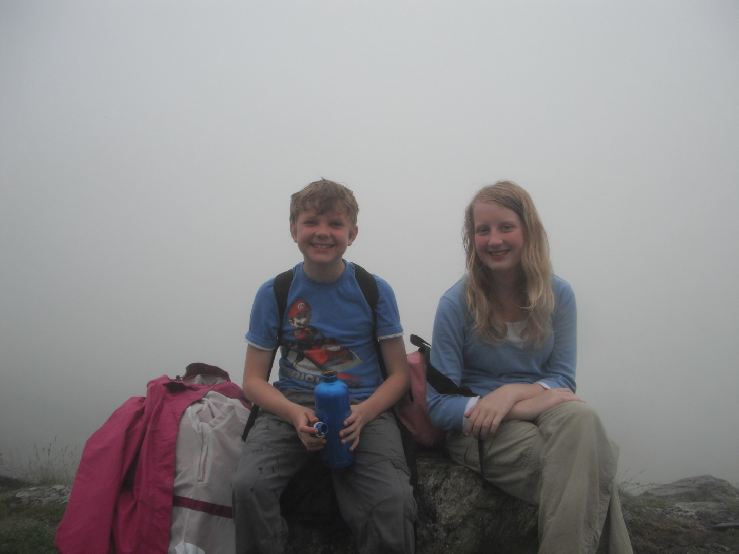 Xene and Lochlan taking another rest during their Mount Snowdon climb