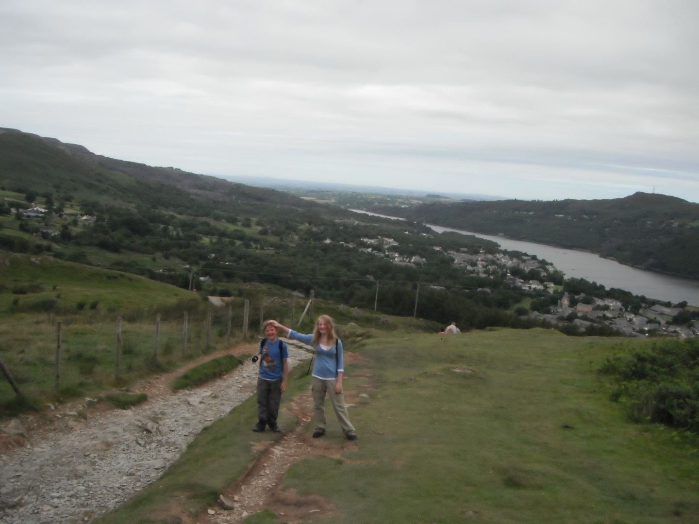 Xene and Lochlan at in Llanberis at the bottom of Mount Snowdon