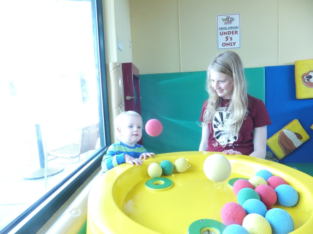 Xene and Tyrus plaing with the balls in the Africa Alive Play Area