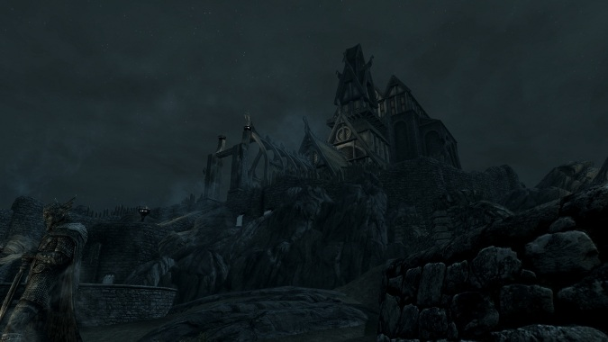 Skyrim temple night sceme