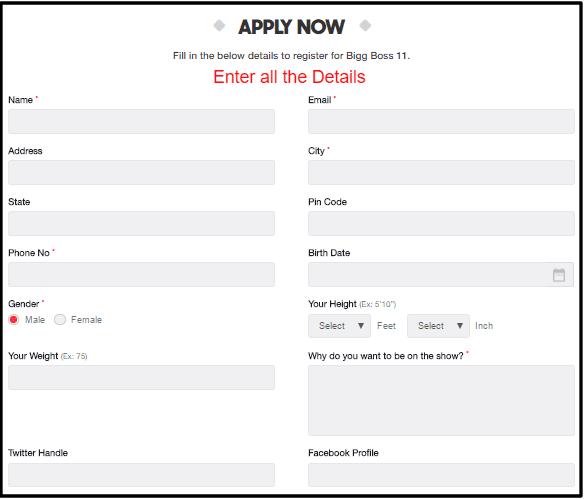 Bigg Boss Audition Registration