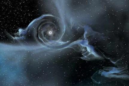 খুব কাছাকাছি চলে আশা তারার গ্যাস ব্ল্যাক হোল নিজের দিকে টানছে। ছবিসুত্রঃ NASA E/PRO , Sonoma State University , Aurore Simonnet