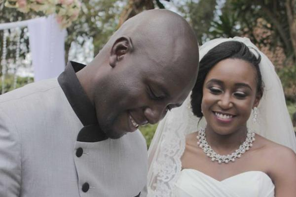Dennis Okari with Betty Kyalo on their wedding
