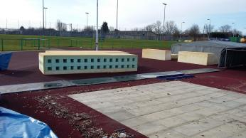 What a pole vault bed in bits looks like