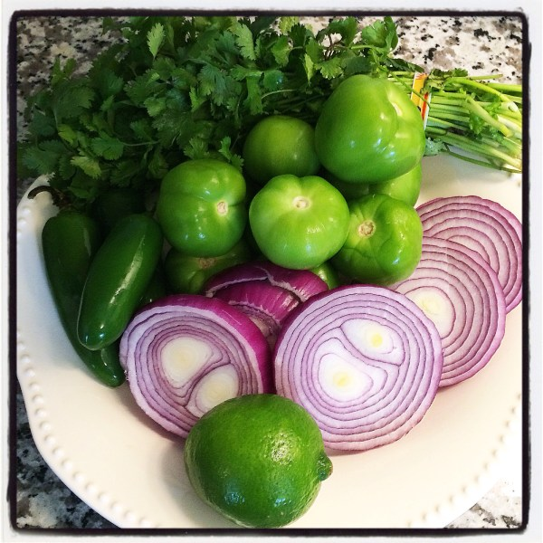My mise en place for the salsa verde