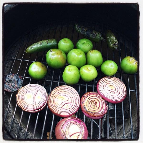 Roasting the veggies for my salsa verde