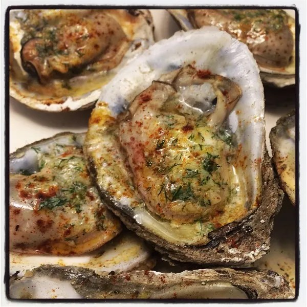 The finished product: Oysters on the half shell with a lemon dill shallot compound butter