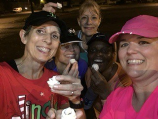 Enjoying cupcakes after a Christmas Lights Run!