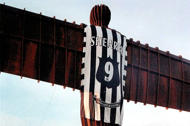 Angel of the North with Shearer shirt. Source