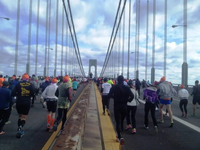 The first mile on the Verrazano-Narrows Bridge is uphill and windy