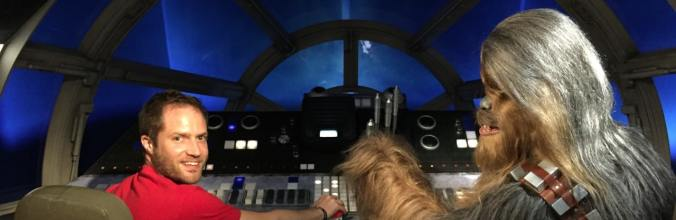 Chewie and I at the controls of the Millennium Falcon
