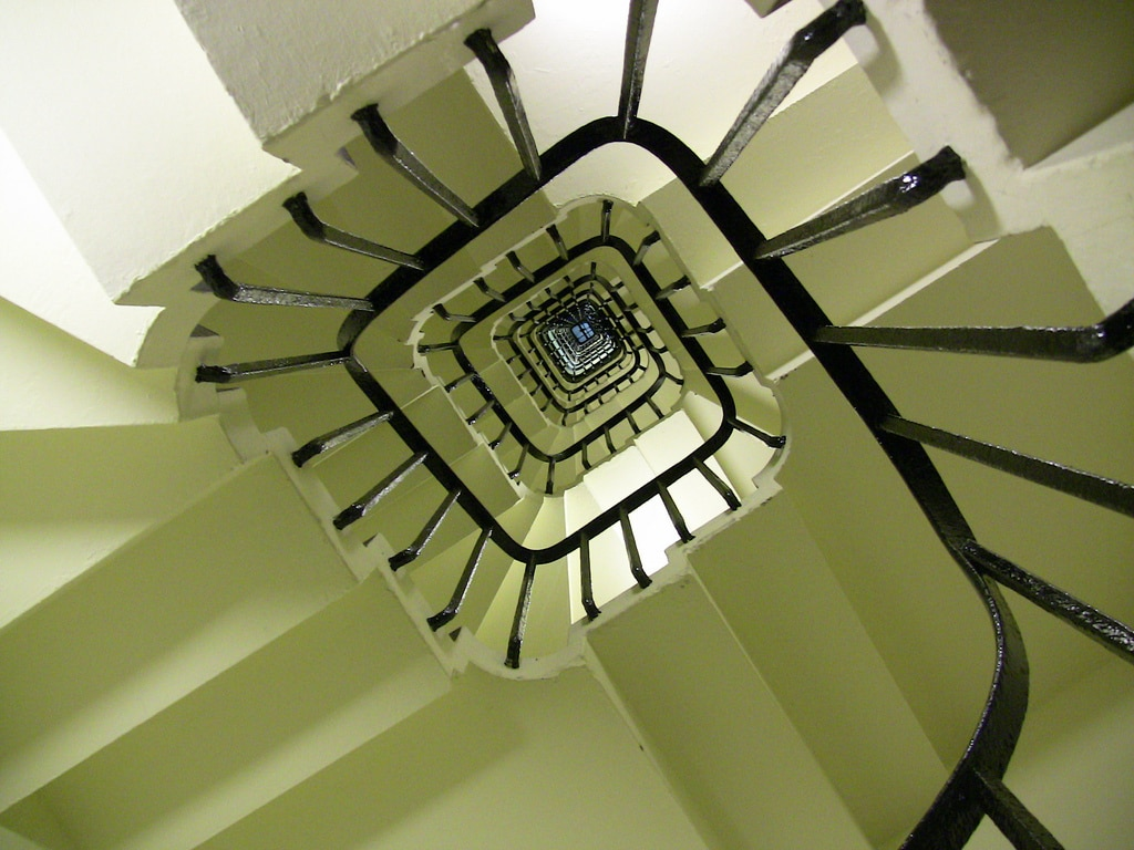 Looking up the staircase