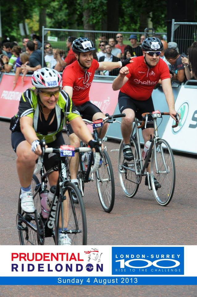 """Being """"photobombed"""" on the line as we finished the inaugural RideLondon100 bike ride - 2013"""