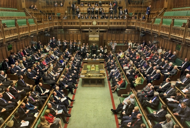 The view down into the House of Commons from the visitors' gallery