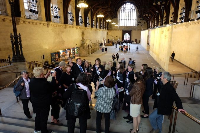 The steps at the end of Westminster Hall opposite the entrance. Alex Salmond giving a tour