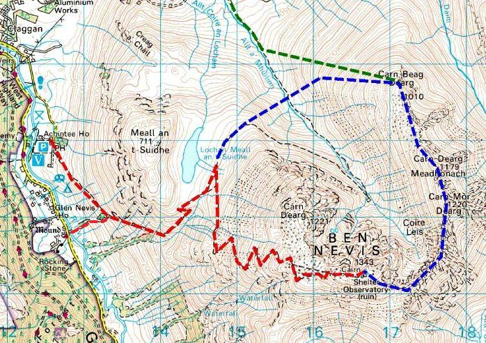 We took the red route from the Glen Nevis youth hostel