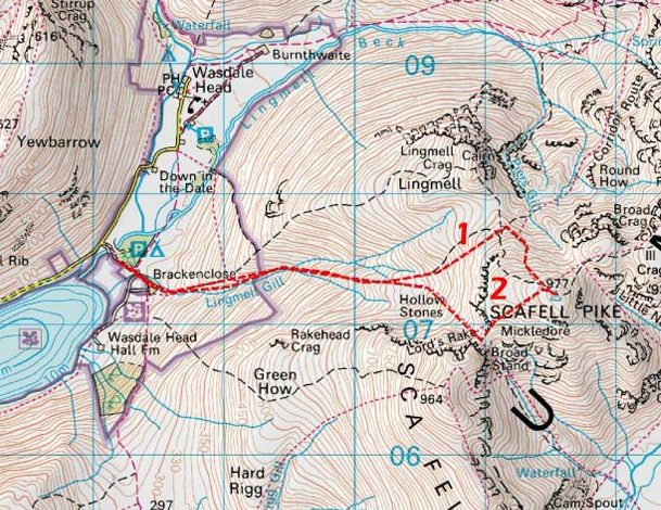 We took the route from Wasdale Head to the top
