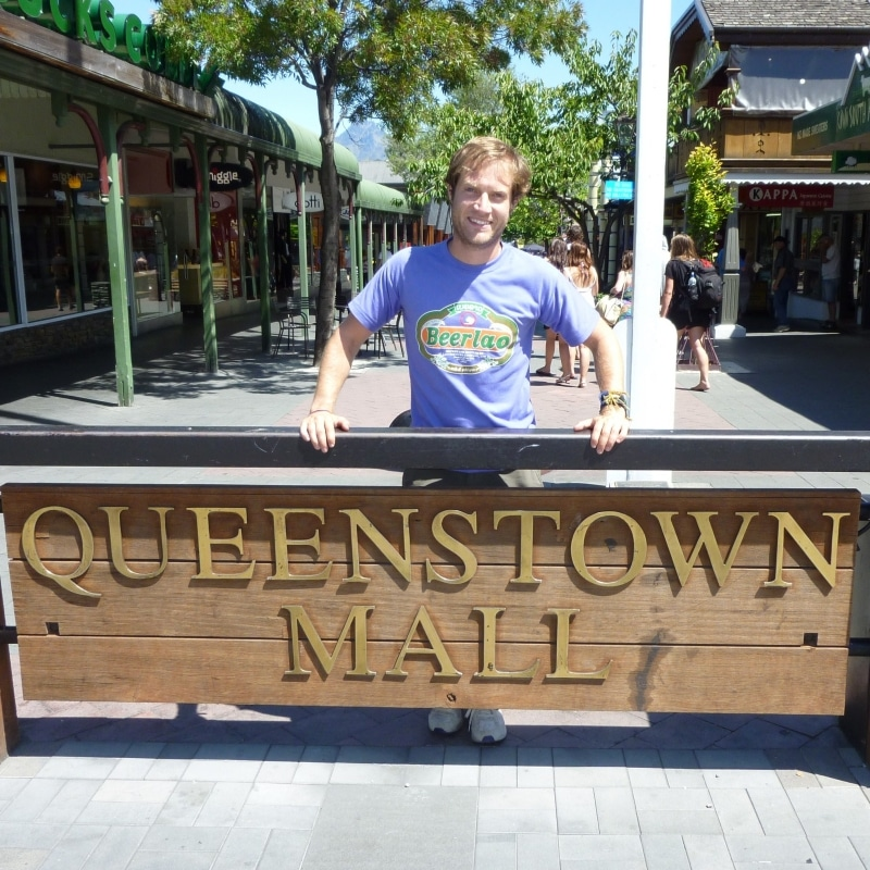 Queenstown Mall. A rare occasion. Place name photos at knee level