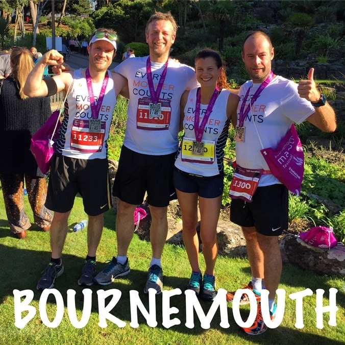 Completing the Bournemouth half marathon for charity 'Every Mother Counts'