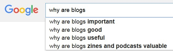 Why are blogs - Google autocomplete