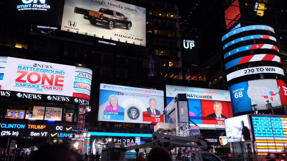 US election night in Times Square