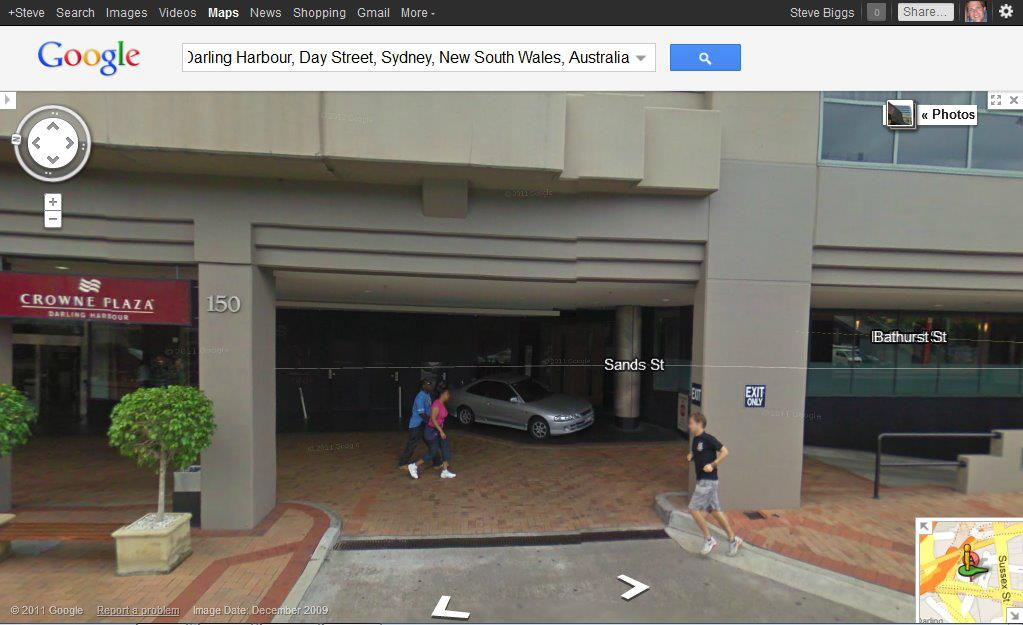 Appearing outside the Crowne Plaza hotel. This image no longer appears on Street View though