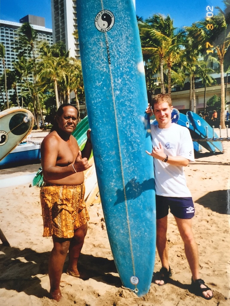 Learning to surf on Waikiki Beach