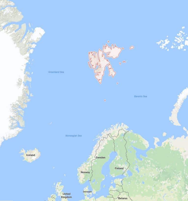 Google map of Svalbard