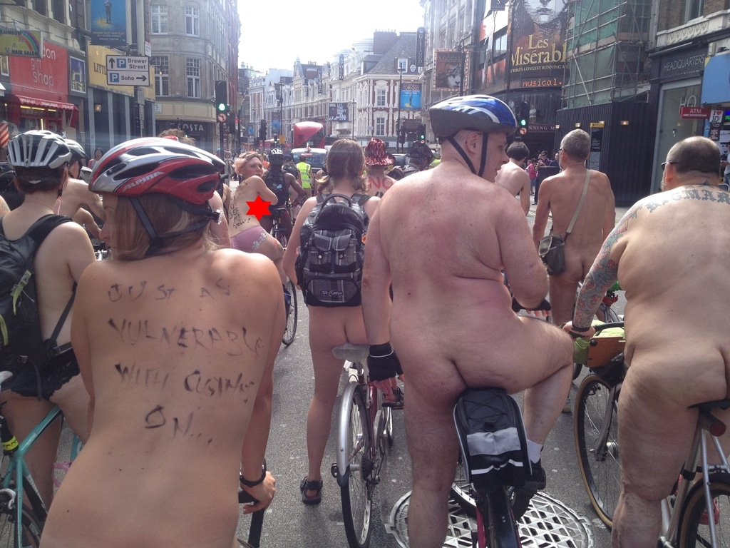 World Naked Bike Ride. A light traffic jam as we head towards Piccadilly