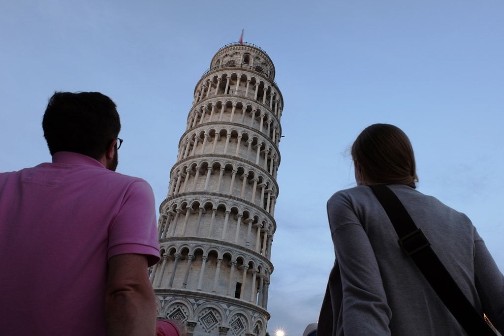 Staring up to the top of the Leaning Tower of Pisa