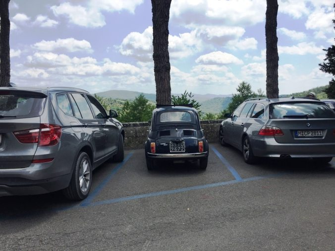 Our little Fiat 500 sandwiched between two big BMWs