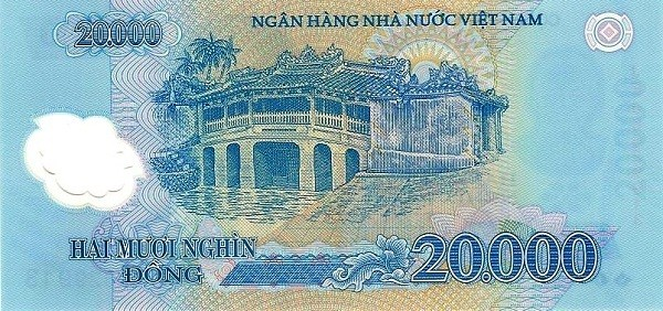 The Vietnam 20000 Dong banknote and Japanese Covered Bridge
