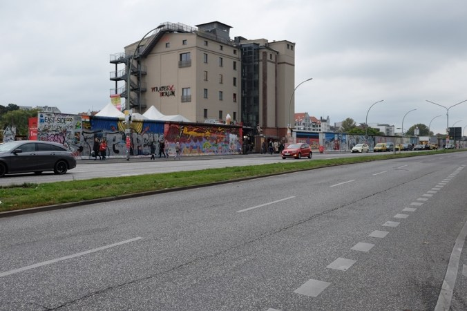 The Berlin Wall East Side Gallery from across the road