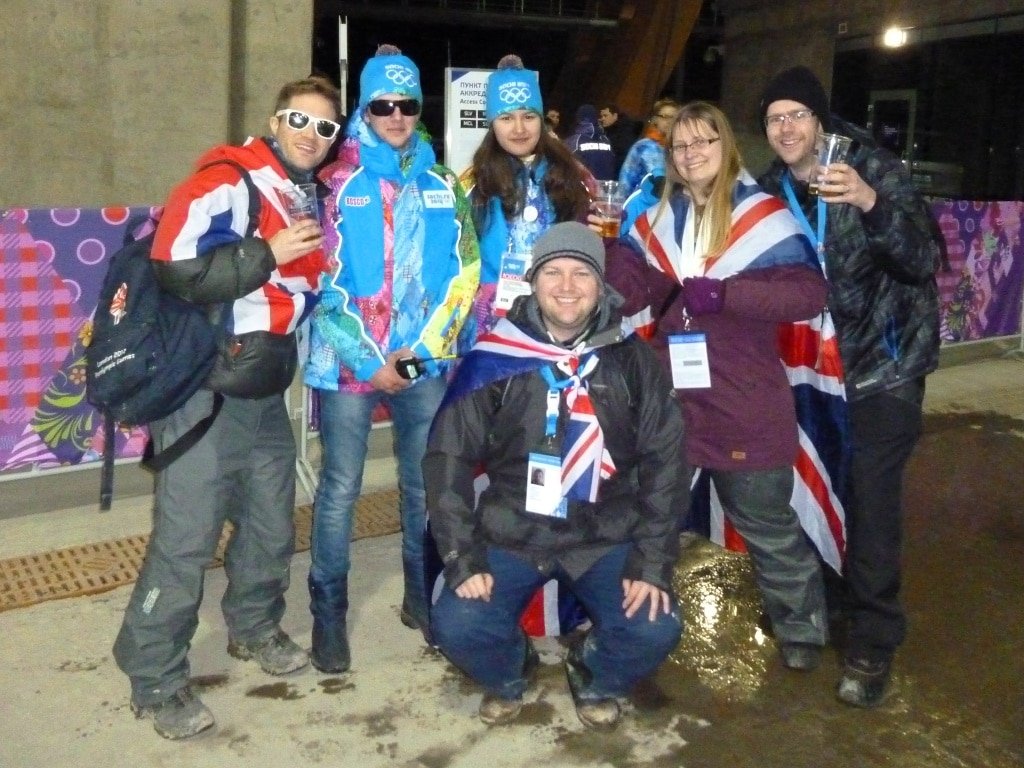 """Fellow Brits with some """"Games Makers"""" at the Winter Olympics' skeleton track"""