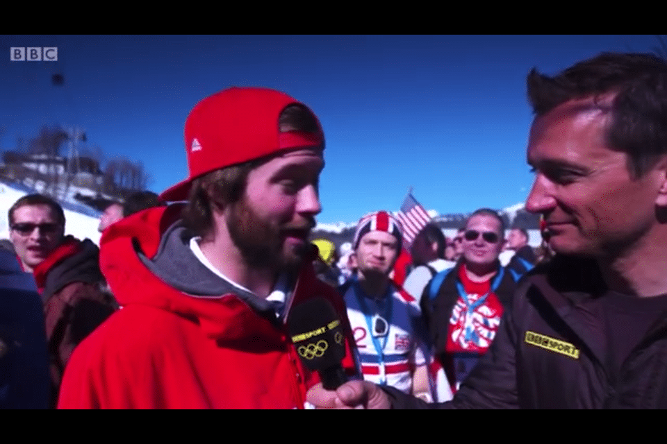 TeamGB's Billy Morgan & BBC's Graham Bell commentating on the Slopestyle. Me in the background