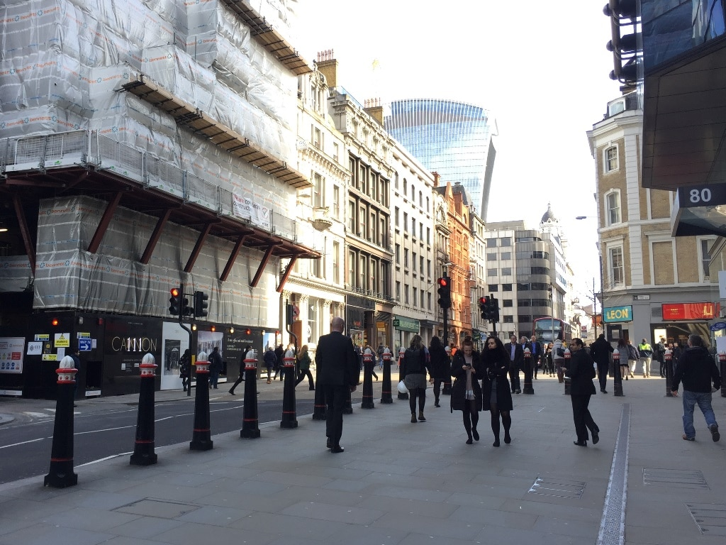 """The centre of London? 111 Cannon Street on the left - the usual location of the """"London Stone"""""""