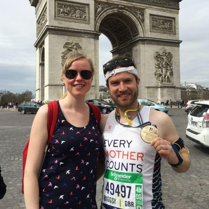 Paris Marathon tips - grabbing a Paris Marathon finish photo at the Arc de Triomphe