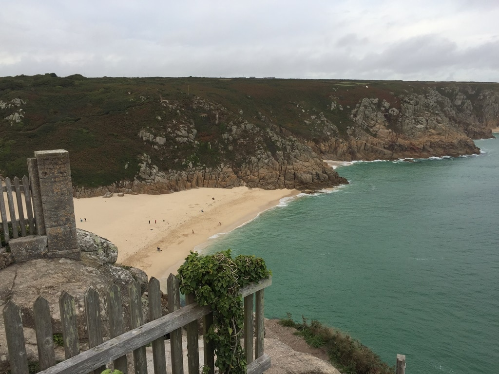 The view of Porthcurno Beach from up high at The Minack Theatre