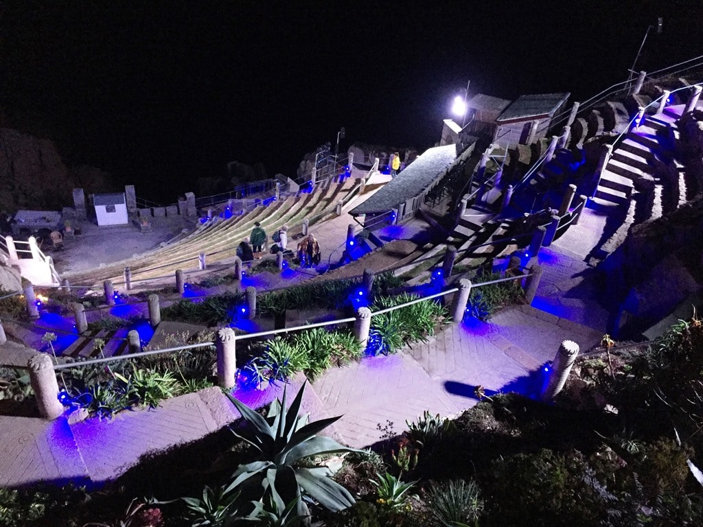 The view from the top terrace of the Minack Theatre stage far below