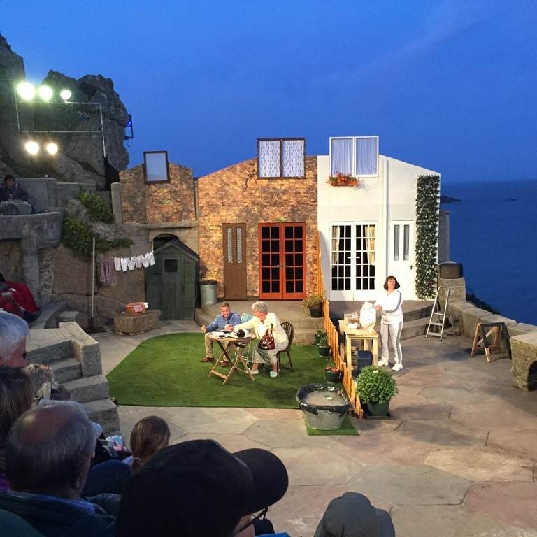 Watching comedy 'Party Piece' at the Minack Theatre
