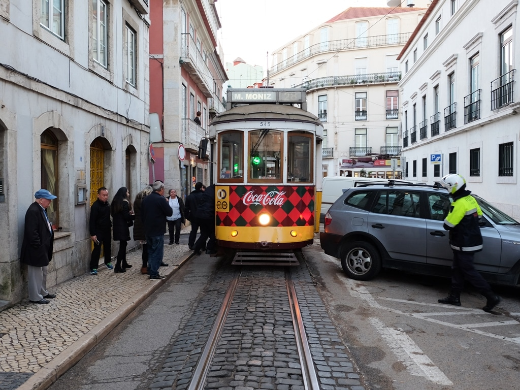 A badly parked BMW brings the whole tram route to a halt